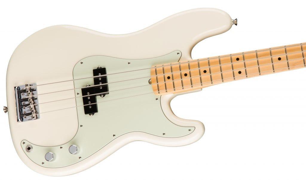A modern Fender Precision Bass guitar