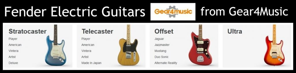 A range of brand new Fender Stratocaster guitars available now from Gear4Music