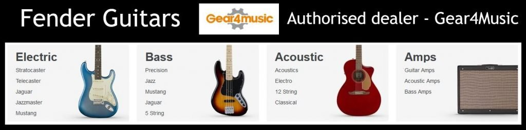 A sample of Fender guitars available from Gear4Music