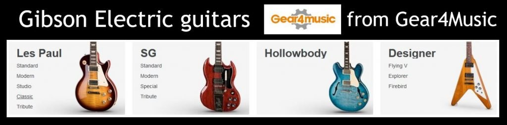 A range of Gibson SG electric guitars from G4M