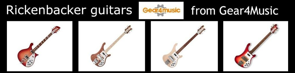 Range of Rickenbacker guitars including the 4003, 330, 360 and 620