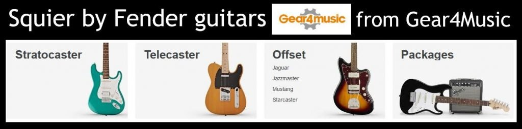 Huge range of Squier by Fender guitars at G4M